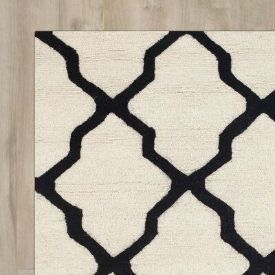 Gillam Hand-Tufted Wool Ivory/Black Area Rug Rug Size: Rectangle 3 x 5