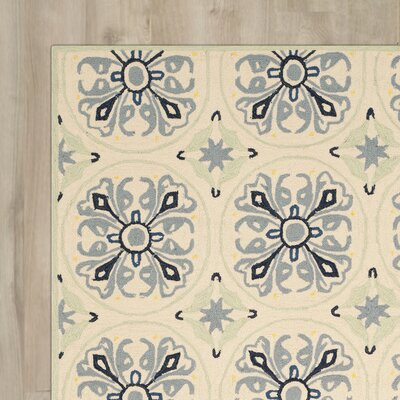 Childers Hand-Hooked Ivory / Blue Indoor / Outdoor Area Rug