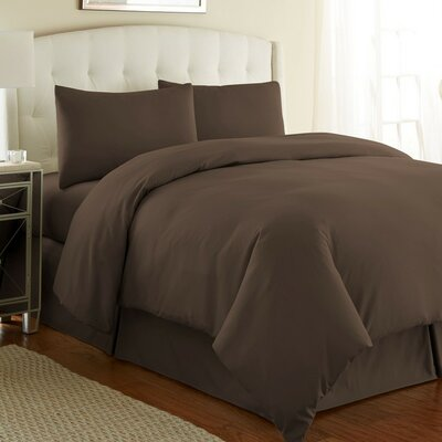 Cosima 3 Piece Duvet Cover Set Size: Full / Queen, Color: Chocolate Brown