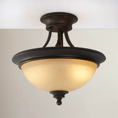 Lindenwood 2-Light Semi Flush Mount in Creek Stone Finish: Burnished Bronze