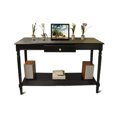 Carlisle Console Table with Bottom Shelf Top Finish: Black