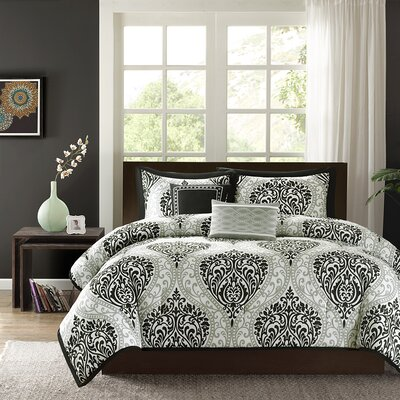 Oliver Comforter Set Color: Black, Size: King / California King