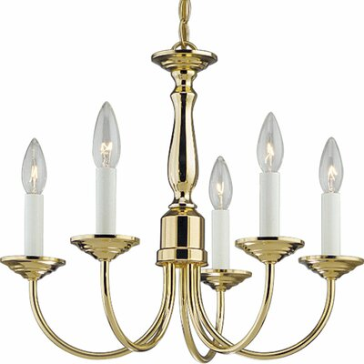 Francesville 5-Light Candle-Style Chandelier Finish: Polished Brass