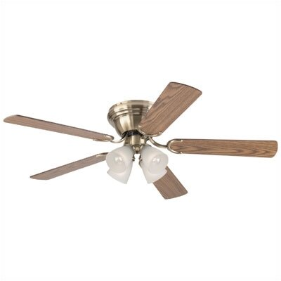 Magnolia 52 5-Blade Ceiling Fan Finish: White with White / White Washed Pine Blades, Glass Type: Frosted Ribbed Shade