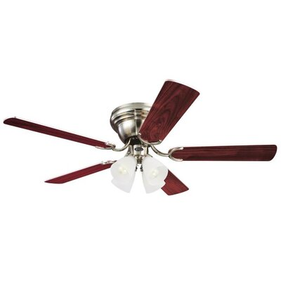 Magnolia 52 5-Blade Ceiling Fan Finish: Brushed Nickel with Rosewood / Maple Blades, Glass Type: Frosted Ribbed Shade