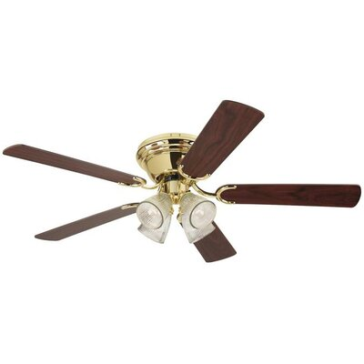 Magnolia 52 5-Blade Ceiling Fan Finish: Polished Brass with Walnut / Oak Blades, Glass Type: Clear Ribbed Shade