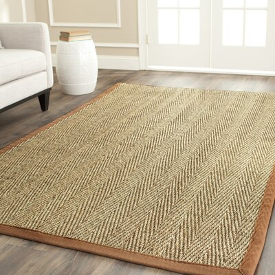 Alberta Natural/Light Brown Contemporary Area Rug Rug Size: 9 x 12