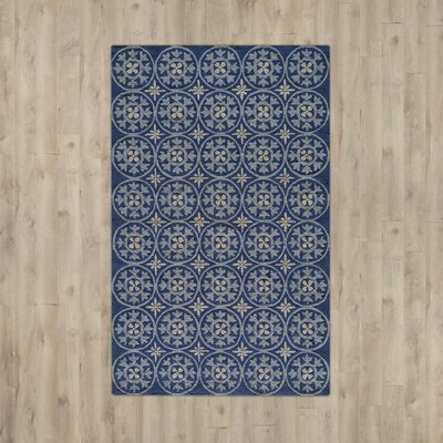 Howland Traditional Hand-Hooked Blue Indoor/Outdoor Area Rug Rug Size: Rectangle 8 x 10