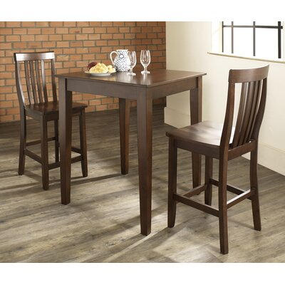 Pittman 3 Piece Pub Table Set with Tapered Leg Table and Barstools Color: Vintage Mahogany