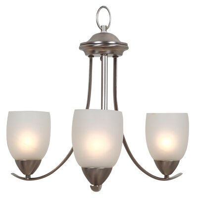 Monrovia 3-Light Shaded Chandelier Finish: Brushed Nickel
