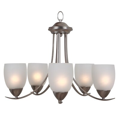 Monrovia 5-Light Shaded Chandelier Finish: Brushed Nickel