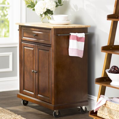 Bexton Kitchen Cart with Wood Top Base Finish: Vintage Mahogany