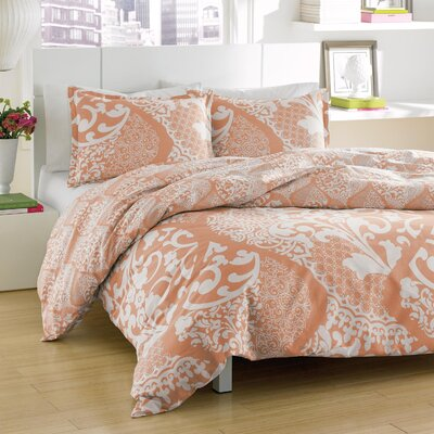 Colby Reversible Duvet Cover Set Size: Twin, Color: Coral