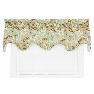 Fulton Floral Lined Scallop 70 Curtain Valance Color: Spa
