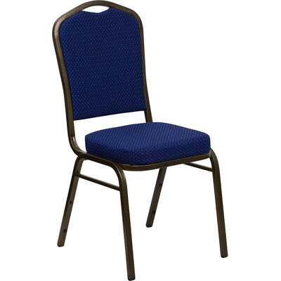 Orland Crown Back Stacking Banquet Chair with Vein Frame Guest Chair Seat Finish: Navy Blue and Gold Dot Patterned