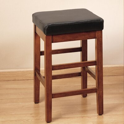 Plymouth 26 Bar Stool Fabric/Finish: Brown Leather/Cherrywood Finish