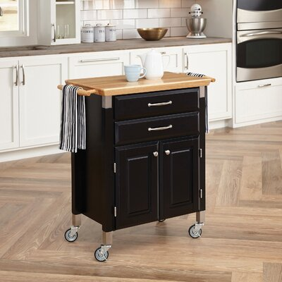 Hamilton Kitchen Island with Wood Top Base Finish: Black