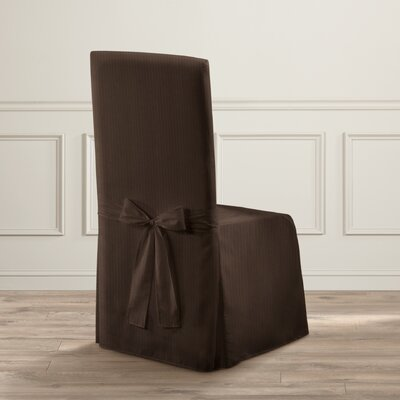 Parson Polyester Chair Slipcover Upholstery: Chocolate