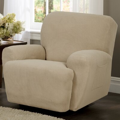 4 Piece Recliner T-Cushion Slipcover Color: Natural