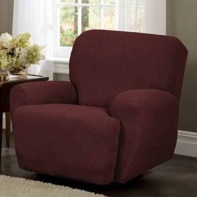4 Piece Recliner T-Cushion Slipcover Color: Red