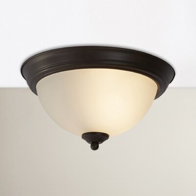 Atterbury 1-Light Flush Mount Shade Finish / Finish: Frosted/Oil Rubbed Bronze, Size: 6 H x 16 W