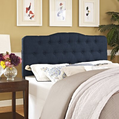 Minneapolis Arch Upholstered Panel Headboard Size: Twin, Upholstery: Navy