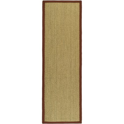 Eldert Natural Fiber Hand-Woven Brown/Tan/Red Area Rug Rug Size: Runner 26 x 6