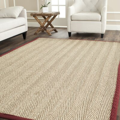 Eldert Natural Fiber Natural & Light Red Area Rug Rug Size: Square 6