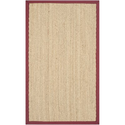 Eldert Natural Fiber Natural & Light Red Area Rug Rug Size: 3 x 5
