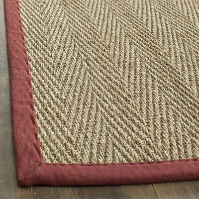 Eldert Natural Fiber Natural & Light Red Area Rug Rug Size: 6 x 9