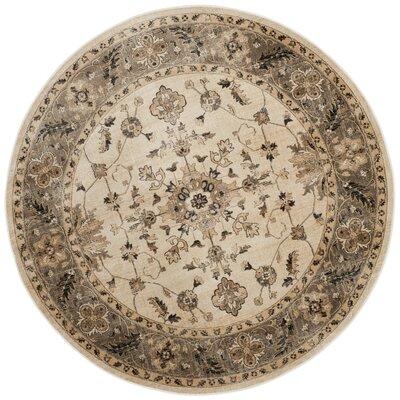 Pittsboro Stone & Mouse Oriental Ivory Area Rug Rug Size: Round 6