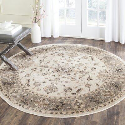 Pittsboro Stone & Mouse Oriental Area Rug Rug Size: Round 6