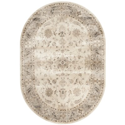 Pittsboro Stone & Mouse Oriental Ivory Area Rug Rug Size: Oval 53 x 76