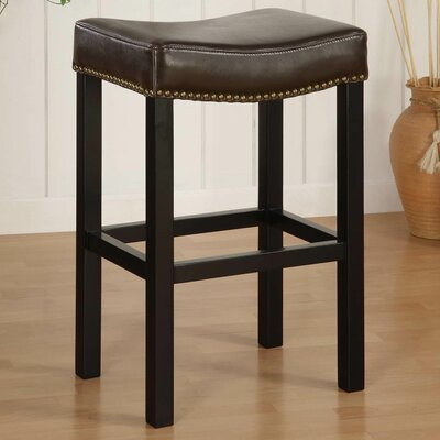 Springfield 26 Bar Stool with Cushion Upholstery: Antique Brown