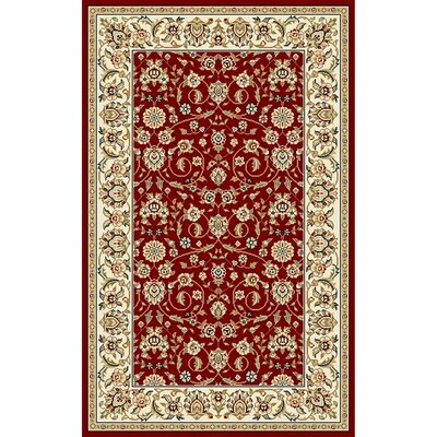 Silvera Red/Ivory Area Rug Rug Size: 5'3