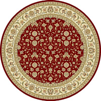Silvera Red/Ivory Area Rug Rug Size: Round 5'