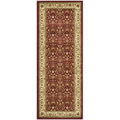 Silvera Red/Ivory Area Rug Rug Size: Runner 23 x 12