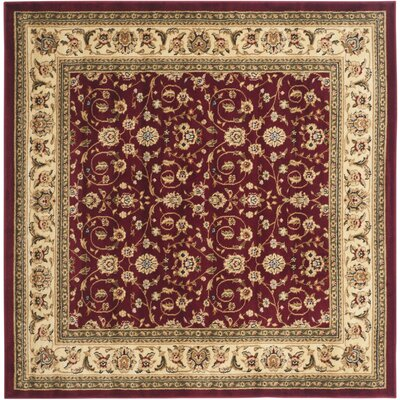 Silvera Red/Ivory Area Rug Rug Size: Square 6