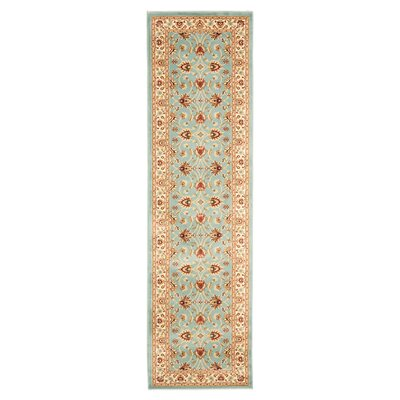 Silvera Blue & Ivory Persian Area Rug Rug Size: Runner 23 x 16