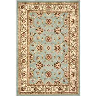 Silvera Blue & Ivory Persian Area Rug Rug Size: 67 x 96