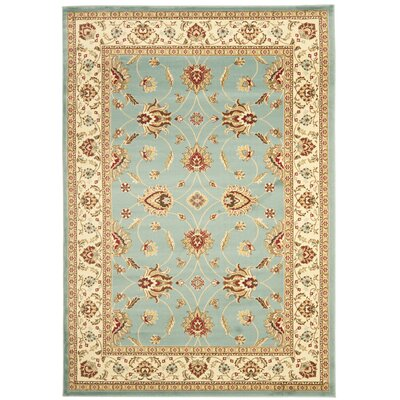 Silvera Blue & Ivory Persian Area Rug Rug Size: Rectangle 53 x 76