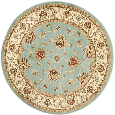 Silvera Blue & Ivory Persian Area Rug Rug Size: Round 5'3