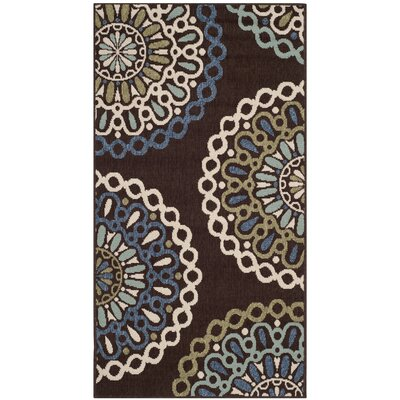 Leonard Chocolate/Blue Indoor/Outdoor Area Rug Rug Size: Runner 27 x 5