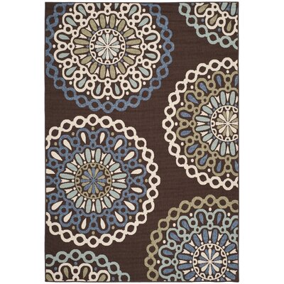 Leonard Chocolate/Blue Indoor/Outdoor Area Rug Rug Size: 53 x 77