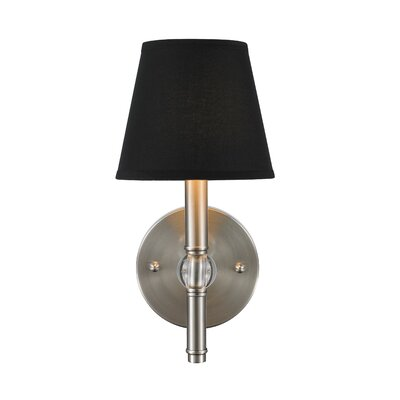 Pierron 1-Light Wall Sconce Shade Color: Silken Black Tuxedo