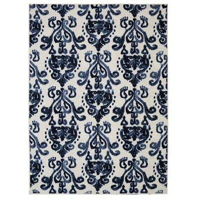 Leonard Blue/Cream Area Rug Rug Size: 5 x 8