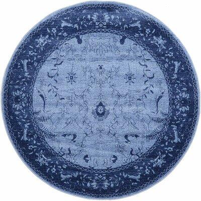 Attleborough Blue Area Rug Rug Size: Round 8'
