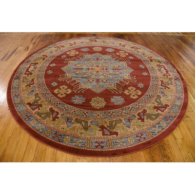 Viola Red Area Rug Rug Size: Round 8'