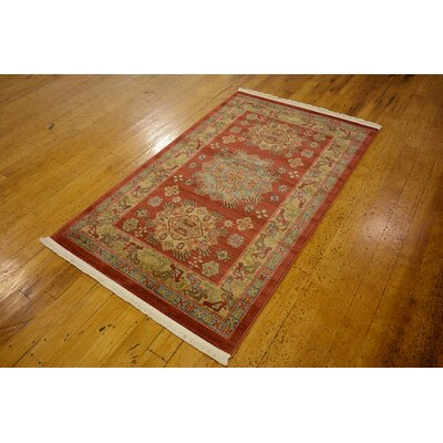 Viola Red Area Rug Rug Size: 3'3