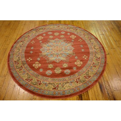 Viola Red Area Rug Rug Size: Round 6'